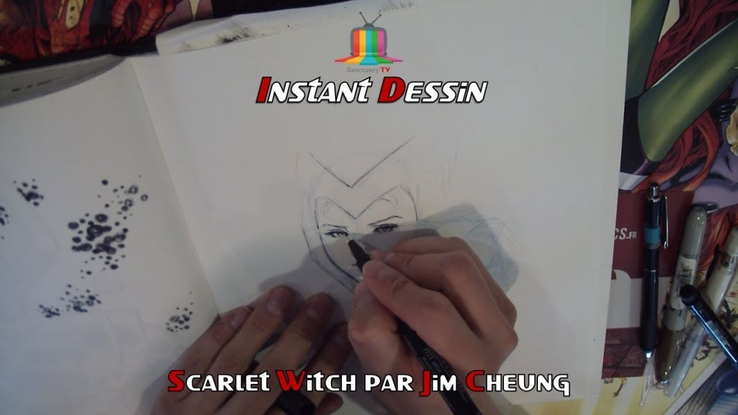Instant dessin : Jim Cheung dessine Scarlet Witch [COMIC CON PARIS 2017]