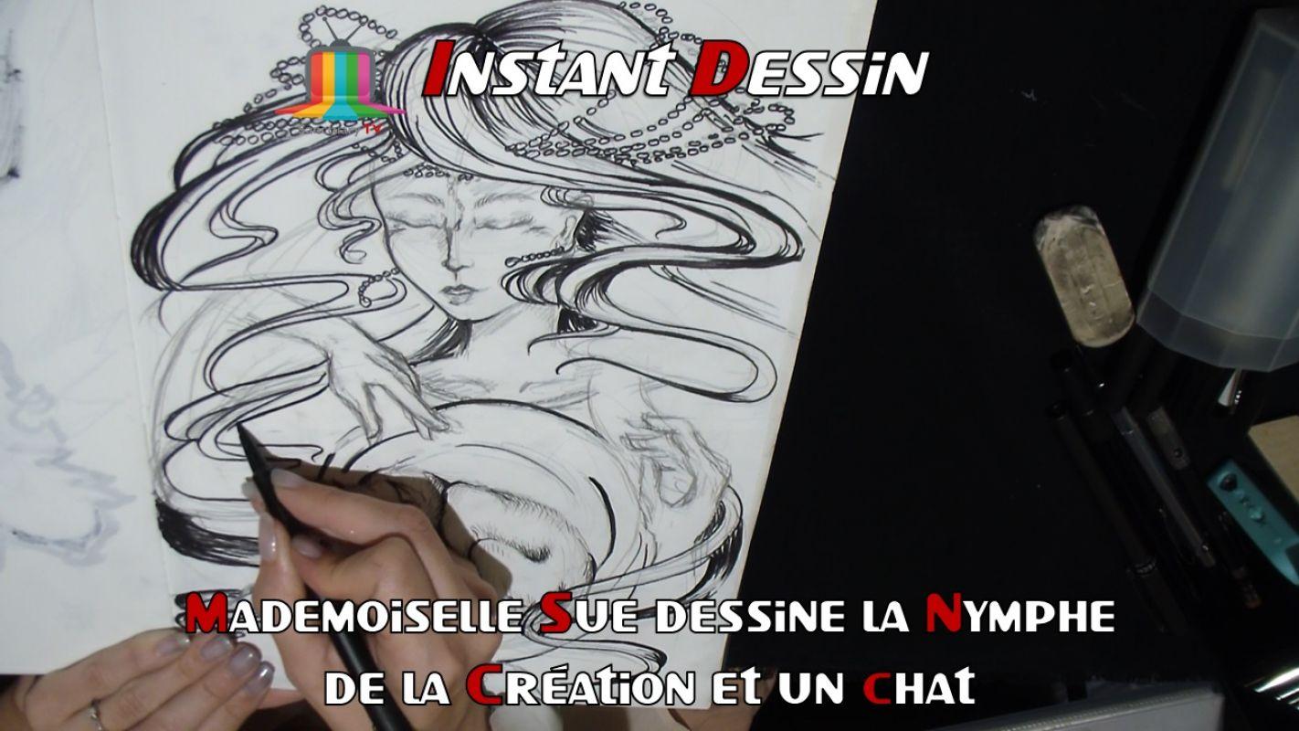 Instant Dessin : Mademoiselle Sue dessine La nymphe de la création & un chat  [Japan Expo 2019]