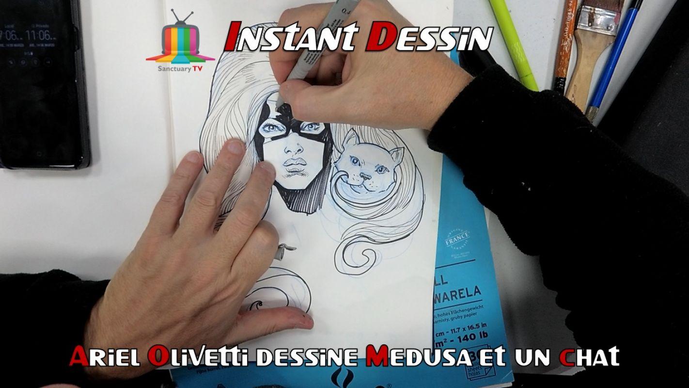 Instant Dessin : Ariel Olivetti dessine Medusa & un chat