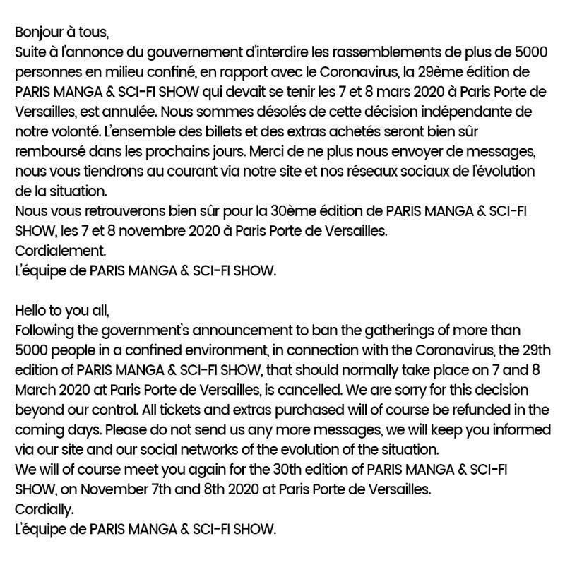 Le salon Paris Manga & Sci-fi Show est annulé