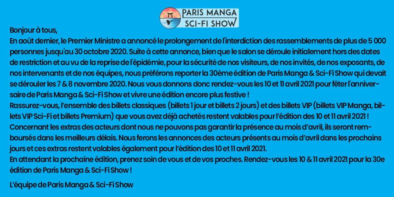 La 30ème édition du salon Paris Manga et Sci-fi Show reportée