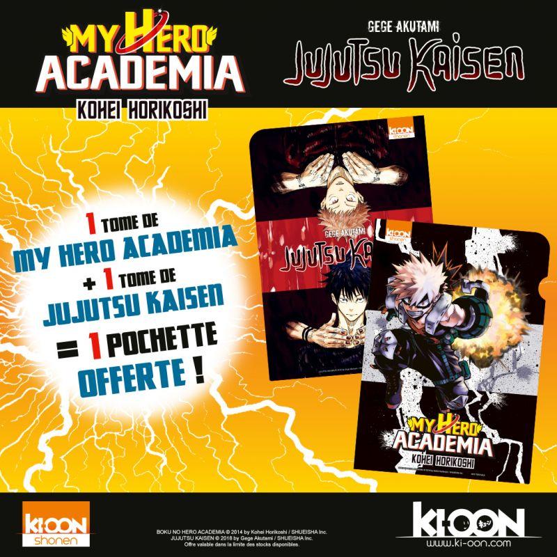 Des pochettes spéciales My Hero Academia et Jujutsu Kaisen en avril chez Ki-oon !